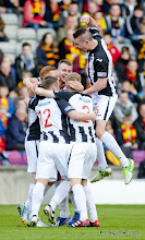 Photo: Partick v Dunfermline Athletic Irn Bru First Division Firhill 27 April 2013Dunfermline players celebrate the equaliser from Ryan Thomson(c) Craig Brown | StockPix.eu