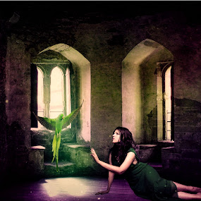 A Girl In The Castle... by Ilkgul Caylak - Digital Art Things ( amazing, awesome, beautiful, woman, bird, cool, dramatic, girl, nice )