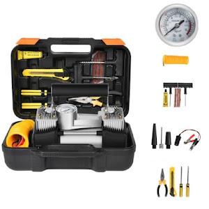 Kit pentru pana, compresor 12V, 2 cilindri si 7 accesorii