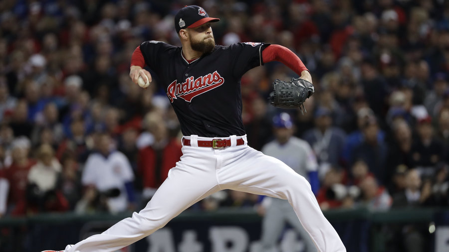 The Cleveland Indians defeated the Chicago Cubs 6-0 in Game 1 of the World Series, building on a dominant performance by starting pitcher Corey Kluber. Matt Slocum/AP