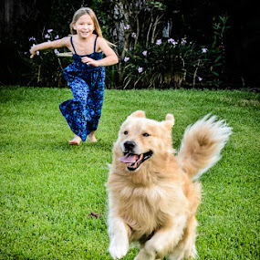 Just a dog's life. by Dee Zunker - Animals - Dogs Running ( girl, happy, dog, running )