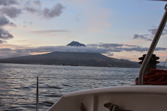 Photo: Magnificant Pico as we saw it while sailing down the east coast of Faial. The only day of good visibility, as we later found out.