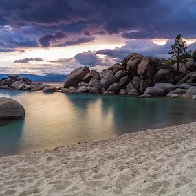 Rain Dance by Mike Lindberg - Landscapes Waterscapes ( clouds, alpine lake, reflection, lakeshore, california, nevada, tahoe, shoreline, long exposure, beach, storm, rain, lake tahoe )
