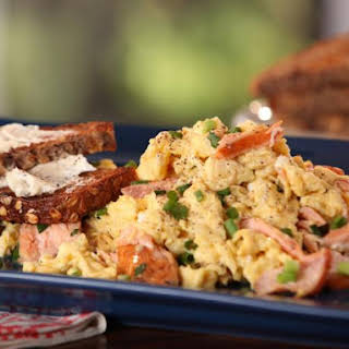 Smoked Salmon and Scallion Scramble with Whole Grain Toast with Goat Cheese Butter.