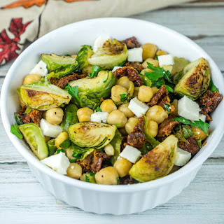 Roasted Brussels Sprouts and Chickpeas Salad.
