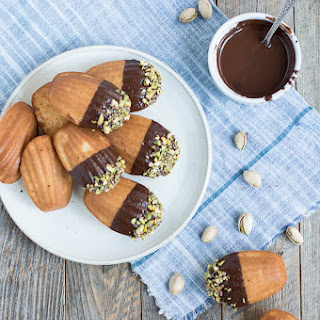 Chocolate Dipped Pistachio Madeleines