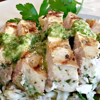 Grilled Swordfish with Chimichurri sauce.