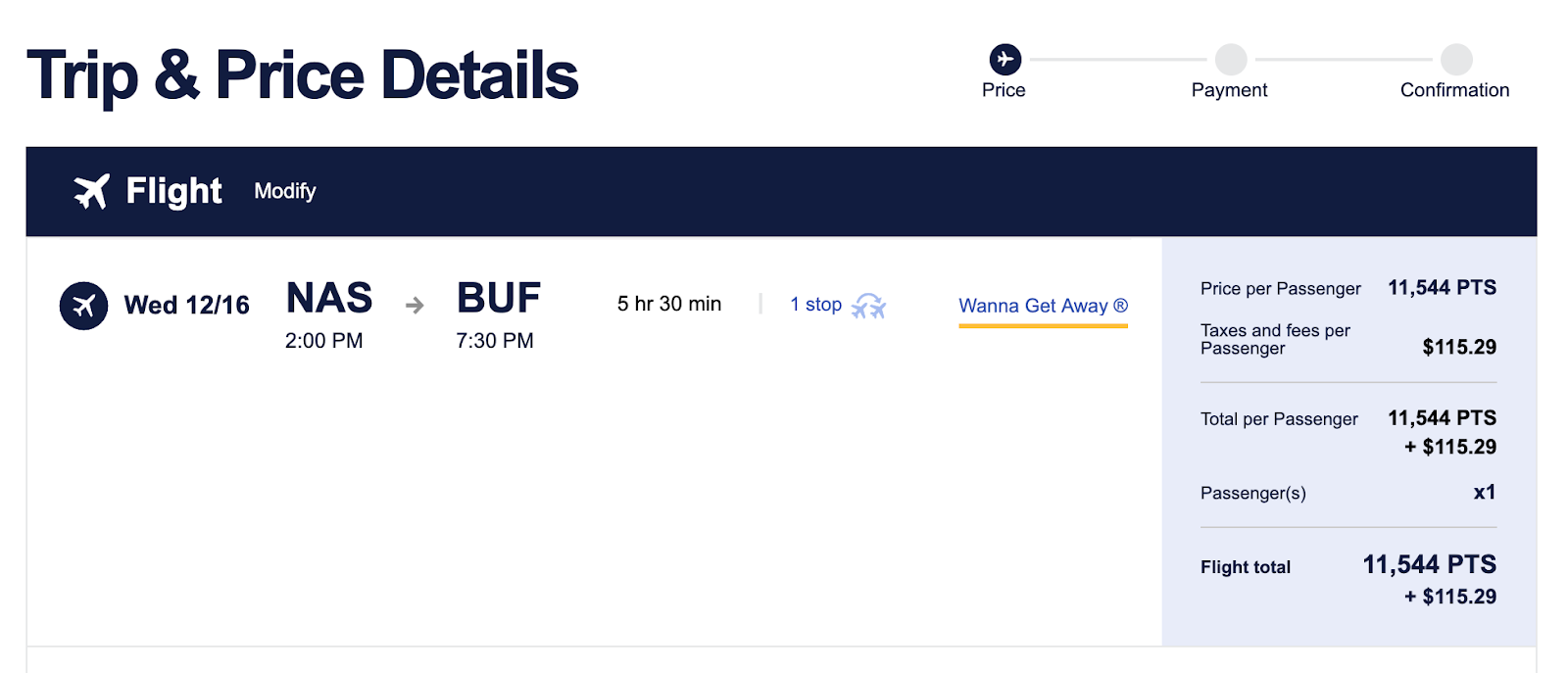 Screenshot of Southwest Booking Trip details of 11,533 points and $115.29