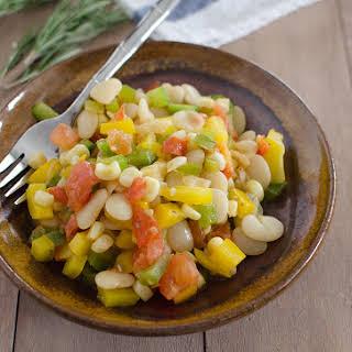 Lima Bean Succotash with Garlic-Rosemary Dressing.