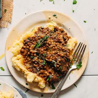 Lentil Mushroom Stew over Mashed Potatoes.