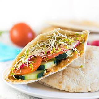 Veggie Hummus Pita Sandwich.