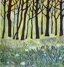Photo: Orion--Daisies . Linoleum/relief print/watercolor . 30x30