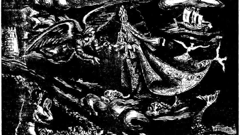 Dibujo de la aparición de la virgen del Mar, por Jesús de Perceval, en la prensa local el día 30 de agosto de 1942.