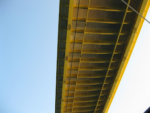Photo: The underside of a four lane highway