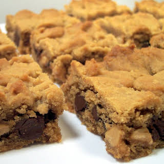 Chocolate And Peanut Butter Filled Peanut Butter Blondies.