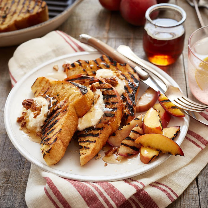 """Grilled Peach, Apricot and Sweet Ricotta Layered """"Bread Pudding"""""""