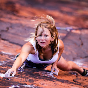 Amber by Ryan Skeers - Sports & Fitness Climbing ( climbing, girls, rock climbing, girls climbing, richness of it all )