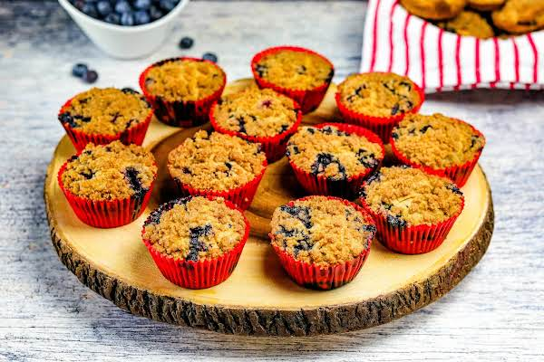 A Platter Of Blueberry Gluten-free Crumble Top Muffins.