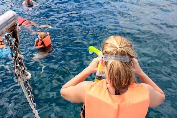 Snorkel stop in the open water at Phi Phi Islands