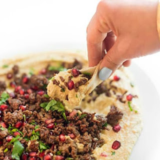Warm Hummus with Ground Lamb and Pomegranate.