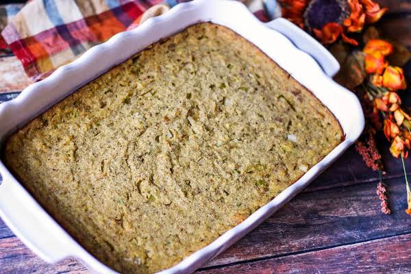 Cornbread Dressing Baked Until Edges Golden Brown.