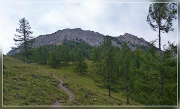 Photo: kurz vor der Bärenalm taucht dann das Hirscheck schon mächtiger auf. Rechts ein unbenannter Gipfel (ich dachte immer das müsste der Aiblplan sein, aber ich werde später eines Besseren belehrt.