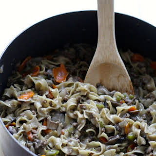 One Pot Healthy Beef Stroganoff.