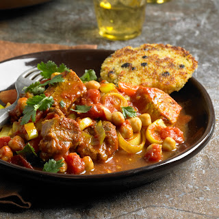 Moroccan-Inspired Country-Style Rib Ragu with Couscous Cakes.