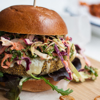 Veggie Burgers with Chipotle Kale Coleslaw