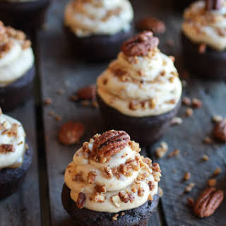 Chocolate Bourbon Pecan Pie Cupcakes with Butter Pecan Frosting..