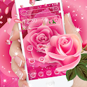 Pink Love Shiny Rose Launcher Theme 🌺 icon
