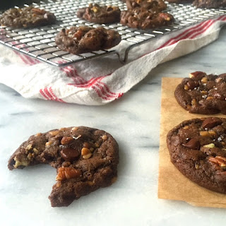 Chewy Double Dark Chocolate Toffee Pecan Cookies