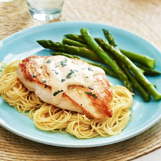 Dressed Chicken Breasts with Angel Hair Pasta.