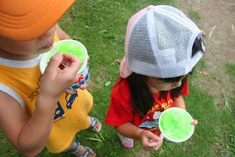 Photo: メロン味のかき氷を芝生の上で食べているちびっ子たちが素敵だったのでパチリさせていただきました。