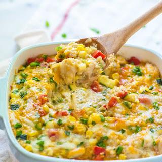 Cheesy Corn Chicken Quinoa Casserole.