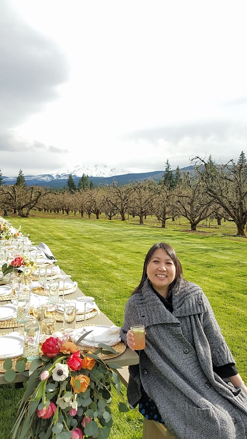 Our Secret Supper Leap Dinner on April 29 2017 held at Mt View Orchard with this view of majestic Mount Hood.