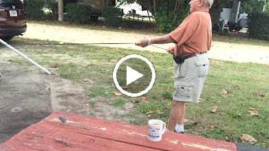 Video: Getting the awning tied down....