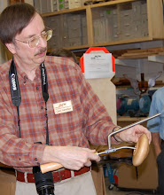 Photo: ... and here Gary shows off the adjustable outrigger tool he received.  C.A. agreed to make similar tools for other MCW members, and three made use of the opportunity.
