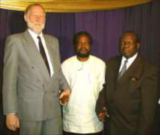 From left: Prof. Helmut Winkler from University of Kassel in German, Prof. Gesler Nkondo principal of Univen and Prof. Mogorosi Makhurane from National University of Science and Technology (NUST) in Zimbabwe. Pic. Elijar Mushiana. 25/03/04. © Sowetan.