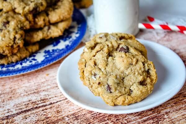 Grandma Helen's Oatmeal Cookies On A Plate.