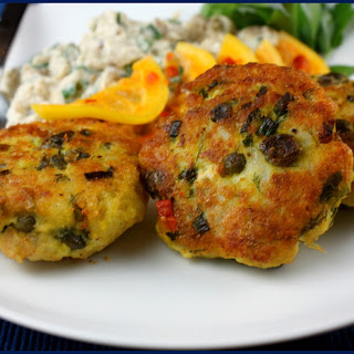 Fish and Caper Patties with Burnt Eggplant & Lemon Pickle.
