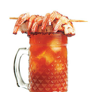Michelada con Camarones (Spicy Beer Cocktail with Shrimp).