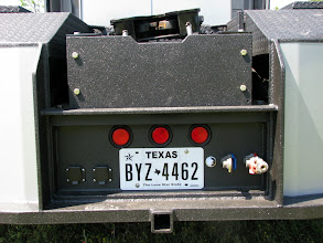 """Photo: This is an ET Sr. with Super Binkley head, built by Henry Szymt. We LineX'ed the back plate. You would not want the gladhands any higher...there is """"just"""" enough space at the top to attach with a handle on the hose. The second 7-pin is for cameras and aux functions from the trailer. Notice the """"steps"""". Bottom bumper, a ledge above the lights, and the ET plates on the left/right. There is an assist """"grab pole"""" that is not shown."""