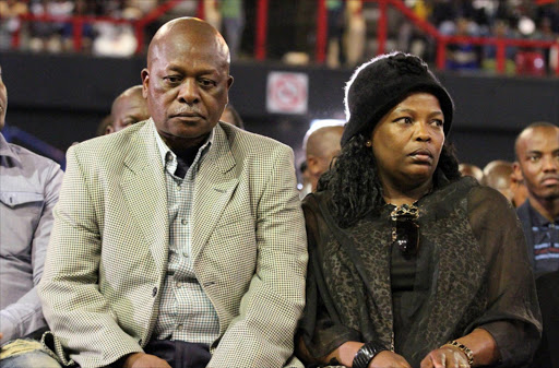 Sam and Getrude Meyiwa, parents of Senzo Meyiwa during the memorial servicei at the Standard Bank Arena in Ellis Park, Johannesburg.