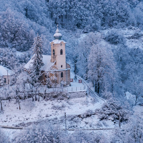 Old church by Stefan Sorean - Buildings & Architecture Public & Historical ( religious, city, church, exterior, winter, tourism, dome, house, building, cloud, view, street, cityscape, landmark, europe, cathedral, architecture, sky, historic, town, nature, old, european, tree, history, religion, snow, travel, landscape )