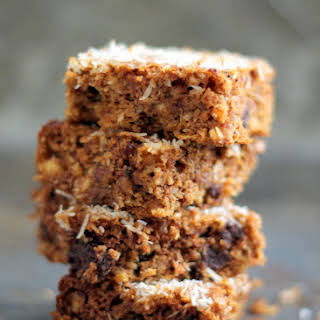 Flourless Pumpkin Almond Butter Bars with Dark Chocolate and Coconut.