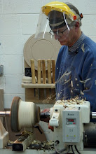 "Photo: Mark begins roughing with a Oneway 1/2"" bowl gouge in a personally turned, wooden handle."