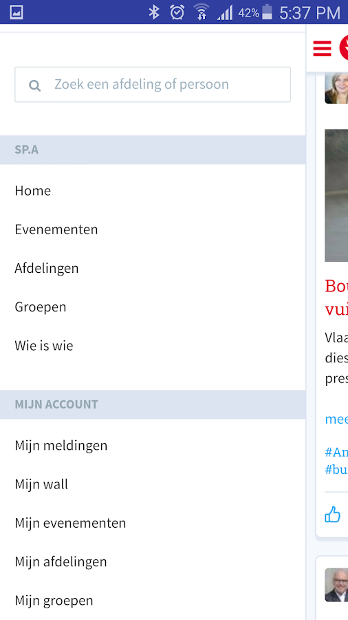 sp.a social netwerk- screenshot