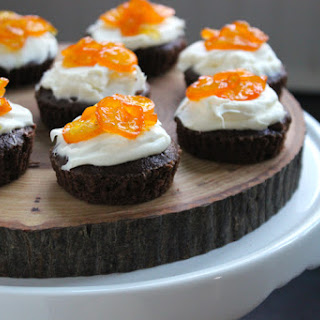 Brownie Bites with Mascarpone Cream and Candied Kumquats