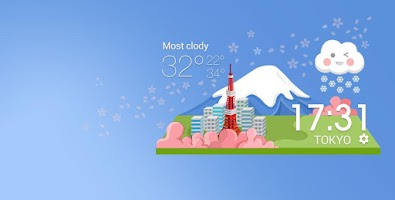 Screenshot of Japanese style weather today